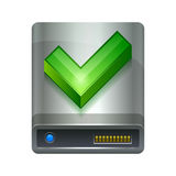 Hard drive disk and ok icon Royalty Free Stock Photos