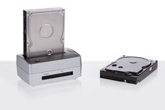 Hard drive docking station for data transmission. Royalty Free Stock Photography
