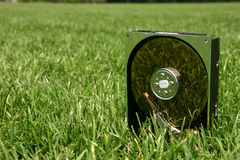 Hard drive in a field. Closeup of hard drive in a green grassy field Stock Photos
