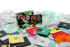 Hard drive, floppy disc, and cd-rom. As data background Stock Photography