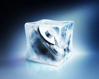 Hard drive in ice cube, concept, path included Stock Image