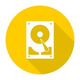 Hard drive icon with long shadow Royalty Free Stock Image