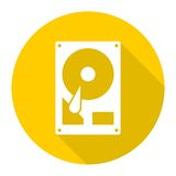 Hard drive icon with long shadow Royalty Free Stock Photo