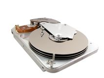 Hard Drive Inside. Inside a hard drive unit Royalty Free Stock Images