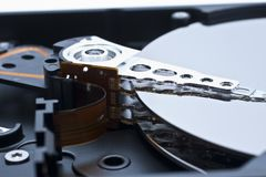 Hard drive inside details Royalty Free Stock Photos