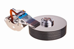 Hard drive internal parts. Computer hard drive internal structure isolated over white background Stock Image