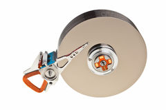 Hard drive internal parts. Computer hard drive internal structure isolated over white background Stock Photo