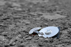 Hard drive - lost data. A hard drive with its cover removed, forgotten Stock Images