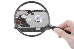 Hard drive magnification royalty free stock image