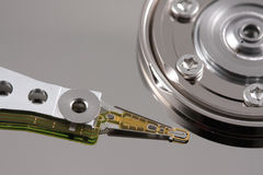 Hard drive needle top view Stock Image