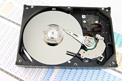 Hard drive Open the top cover off on Business graph. Royalty Free Stock Images