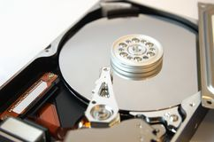 Hard drive opened on white 2 Stock Images