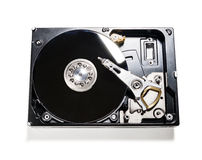 Hard drive removed from the computer isolated on white backgroun. The computer's hard drive is shot isolated on white background Royalty Free Stock Photos