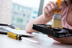 The hard drive repair and data recovery with restoration Stock Images