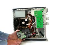 Hard Drive Replacement. Desktop Repair and Service with hard drive removed Stock Images