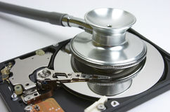 Hard drive. Stethoscope Royalty Free Stock Photos