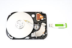 Hard drive and usb stick Stock Image