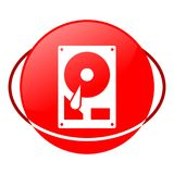 Hard drive vector illustration, Red icon Royalty Free Stock Image