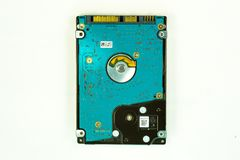 Hard drive on white background. Close up stock photos