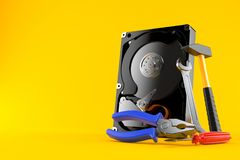 Hard drive with work tools vector illustration