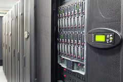 Hard drives and controls. In telecommunication rack royalty free stock image