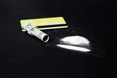 Hard drugs on black table.  Royalty Free Stock Photo