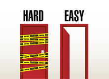 Hard and easy doors. illustration design Stock Images