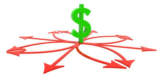 Hard Financial Decision. 3D rendered illustration of dollar sign standing in red arrow crossroads Stock Image