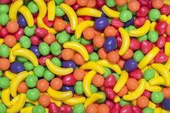Hard fruit candy. Closeup of pile of colorful hard fruit shaped candy Royalty Free Stock Photography