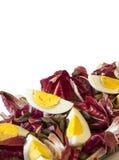 Hard-gekookte eieren met organisch rood witlof Royalty-vrije Stock Foto's