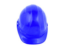 Hard hat. Blue hard hat isolated on a white background stock photo