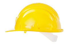 Hard hat. Yellow hard hat isolated on white, clipping path included Royalty Free Stock Photo