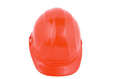 Hard hat. Red hard hat isolated on a white background royalty free stock photography