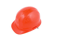 Hard hat. Red hard hat isolated on a white background royalty free stock photos