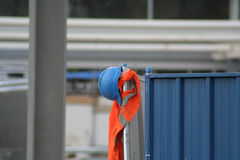 Hard hat. Construction workers hard hat at building site royalty free stock images
