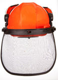 Hard Hat. With ear defenders and face mask  for protect while using a chain saw Royalty Free Stock Photo
