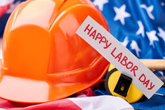 Hard hat on american flag. Royalty Free Stock Photos