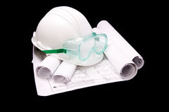 Hard Hat And Blueprints Stock Photos