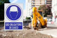 Hard hat area, with text in spanish. Royalty Free Stock Image