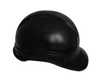 Hard hat in black. For oil workers and miners Stock Image