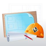 Hard Hat with Blue Print Stock Photography