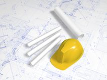 Hard hat and blueprint Stock Photography