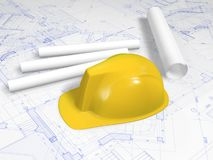 Hard hat and blueprint. Hard hat of engineer on blueprint and paper scroll Royalty Free Stock Images