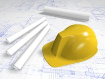 Hard hat and blueprint. Hard hat of engineer on blueprint and paper scroll Royalty Free Stock Photography