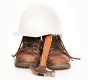 Hard hat boots and tools Stock Images