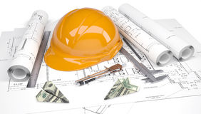 Hard hat, calipers, dollars folded in paper planes Stock Image