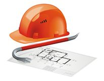 Hard Hat and Construction Plan Stock Photos