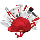 Hard hat with construction tools. Red helmet, trowel, brush, hammer. Royalty Free Stock Photography