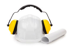 Hard hat and ear muffs Stock Photography