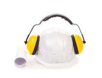 Hard hat and ear muffs. Stock Photography